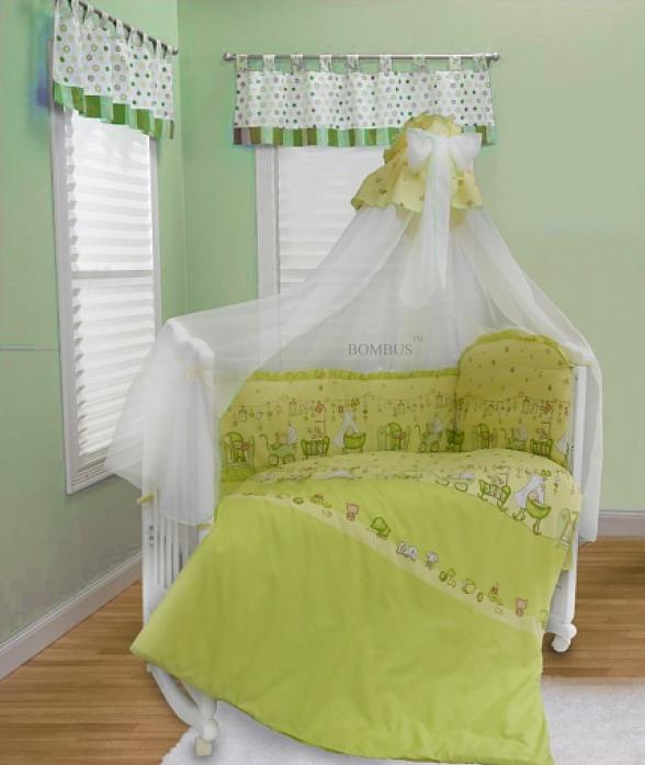 Комплект в кроватку Bombus Забавки 7пр 1334 зеленый