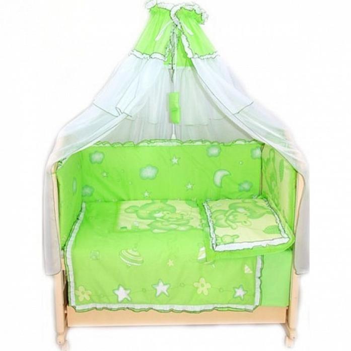 Комплект в кроватку Bombus Топтышка 7пр 1234 зеленый