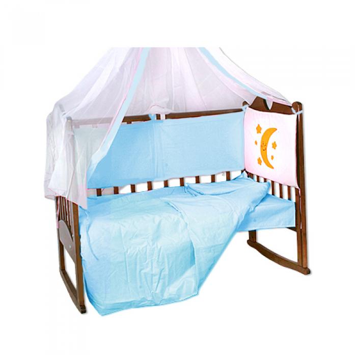 Комплект в кроватку Soni Kids Луняшки-Мишка в гамаке 7пр голубой3084