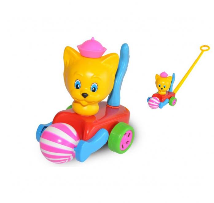 Каталка Польская пластмасса Кот с мячиком PL7051