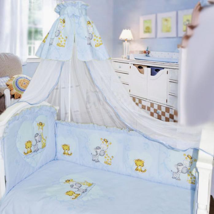 Комплект в кроватку Золотой Гусь Сафари 1212 голубой 7пр