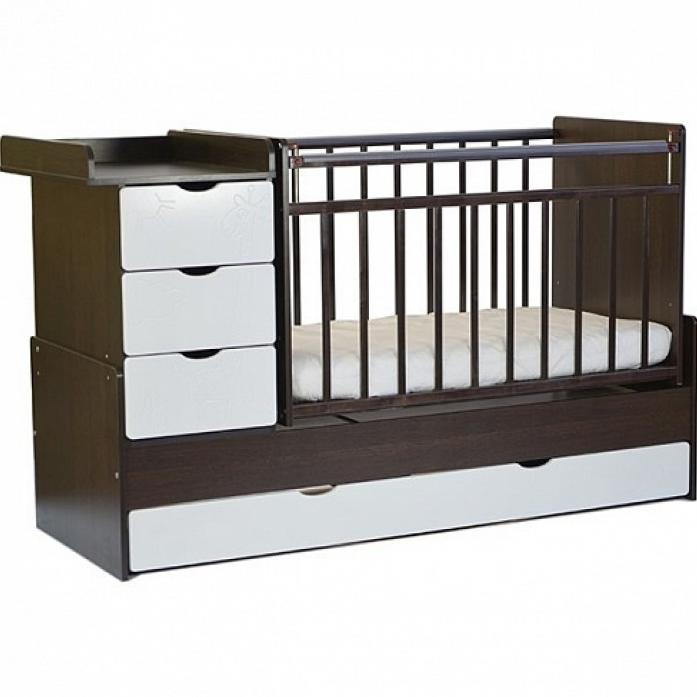 Кровать СКВ СКВ-5 Жираф 540038-110 венге+кожа молочный