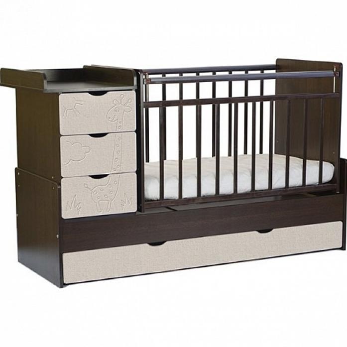 Кровать-трансформер СКВ СКВ-5 Жираф 540038-212 венге+серый текстиль