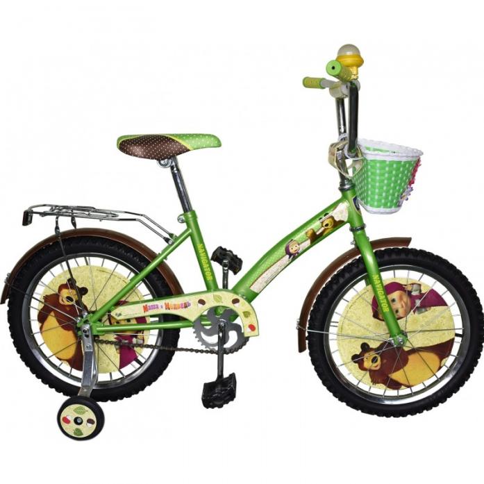 Велосипед Navigator 18 Маша и Медведь KITE-тип с корзиной зелено/желтый