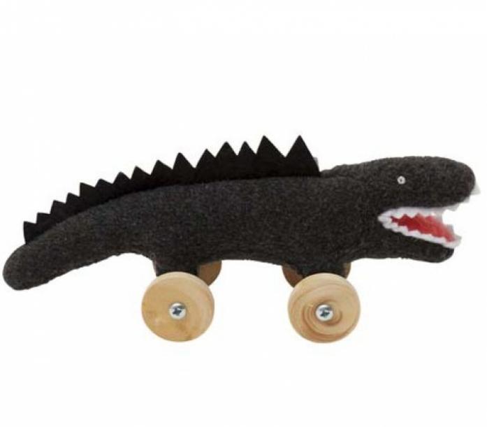 Мягкая игрушка TROUSSELIER Крокодил на колесиках 16см черный
