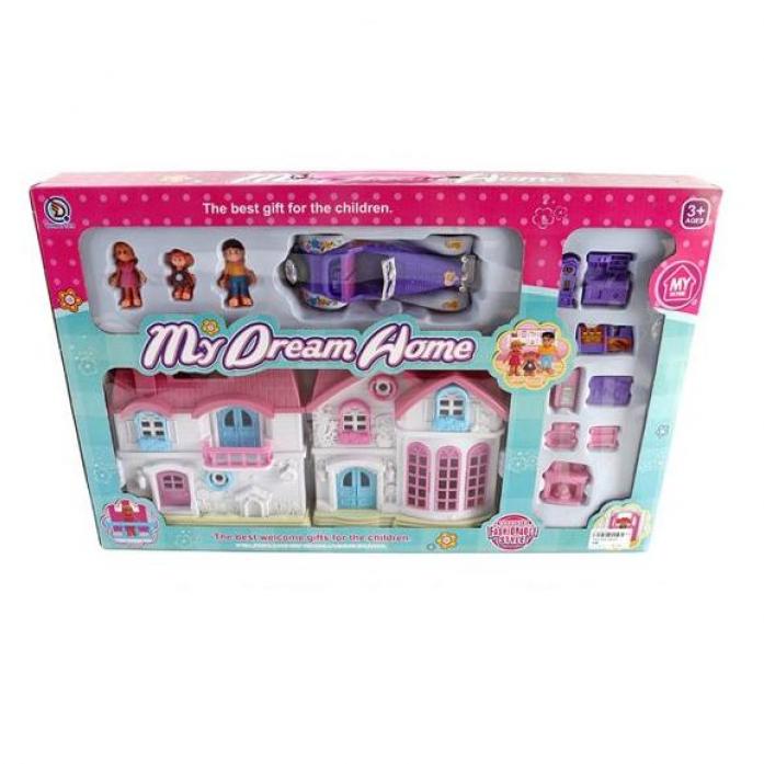 Игровой набор Shantou Gepai Дом моей мечты с набором мебели, фигурками и машиной 88026