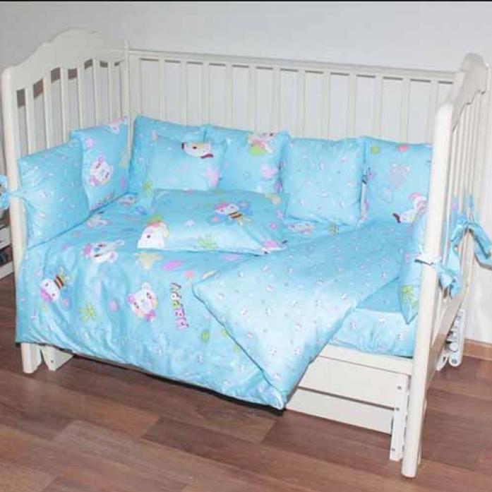 Комплект в кроватку Bomani 29 предметов Веселая пчела голубой К-Б4/4/happy bee/blue
