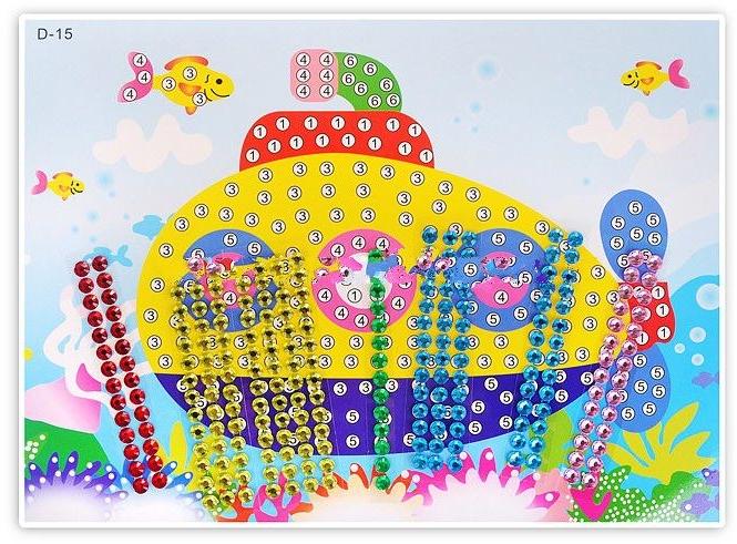 Мозаика самоклеющая Color Kit Подводная лодка (стразы) D015