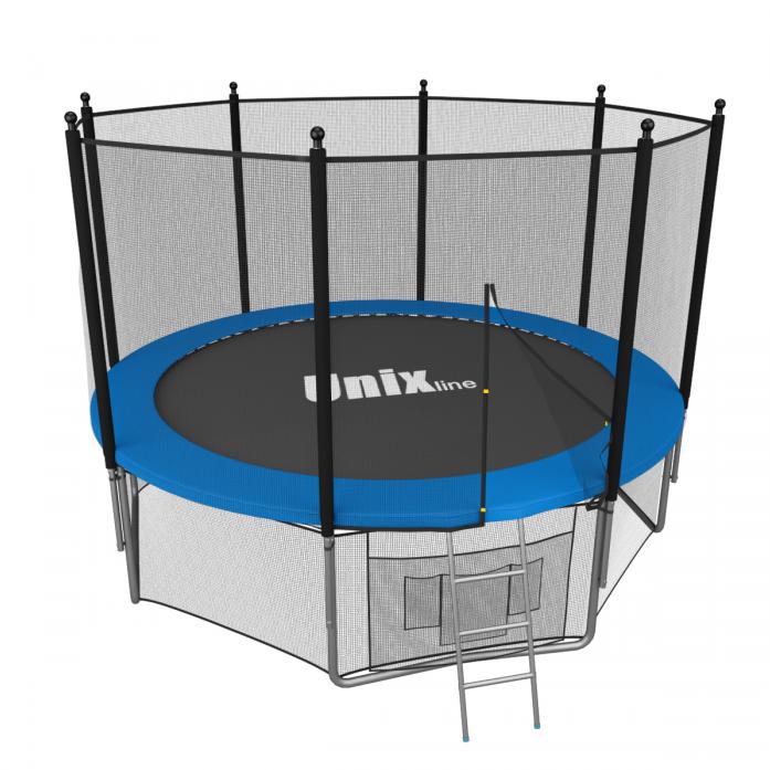 Батут Unix 6 ft с сеткой и лестницей blue