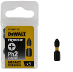 Биты ударные DeWalt Impact Torsion Ph2 25мм 5шт DT7994T-QZ