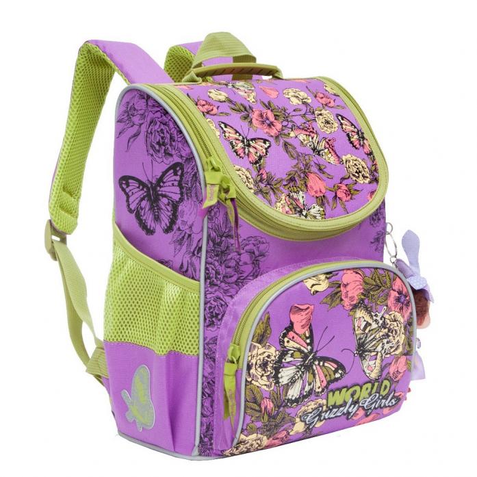 35b56c39ecc8 ... Рюкзак школьный Grizzly Бабочки RA-873-4/1 Лиловый с мешком для обуви  ...