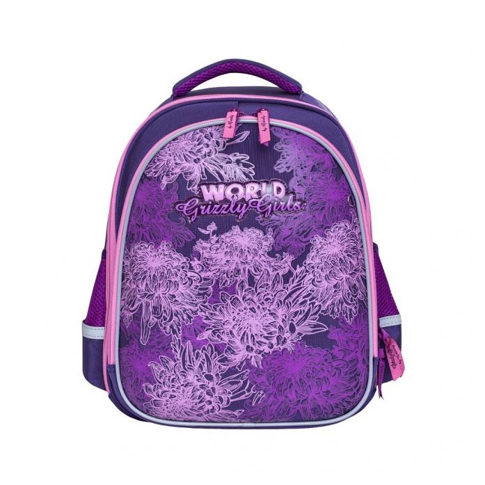 77e95279e78a Рюкзак школьный Grizzly Цветы RA-879-4/1 Фиолетовый Артикул 625173 ...