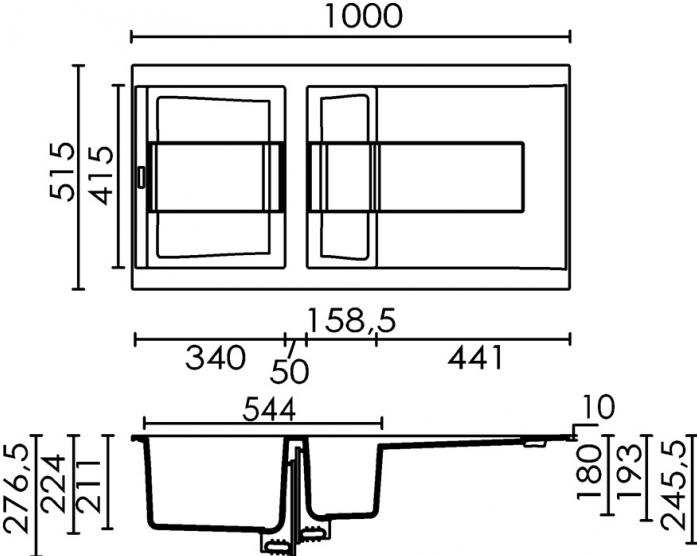 Кухонная мойка Elleci SIREX 475 (92) Mehanika