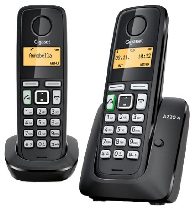 Телефон GIGASET A220 DUO RUS (две трубки) Black