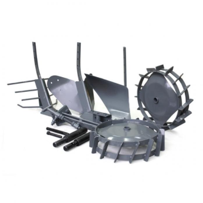 Комплект Pubert Maxi R0025 окучник с металлическими колесами, 2 сцепки, плуг и картофелекопатель