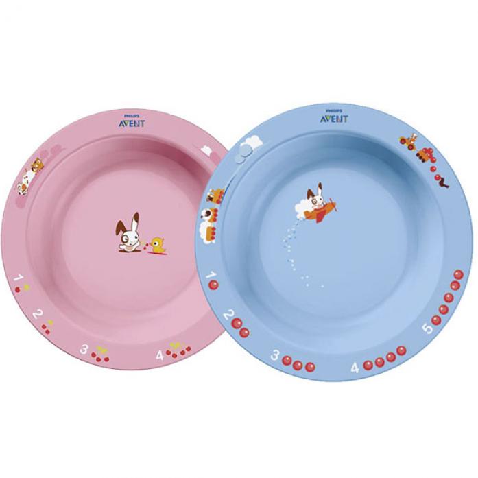 Набор тарелок Philips Avent голубая и розовая 6+ SCF708/01