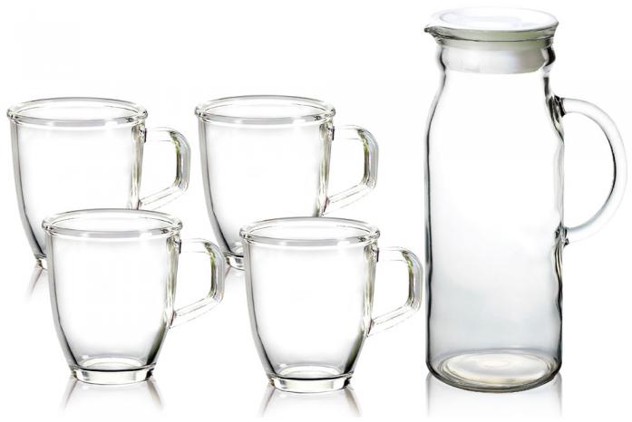 Набор (кувшин + 4 стакана) GLASSLOCK IG-667
