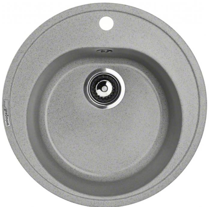 Кухонная мойка Weissgauff RONDO 480 granit серый шелк
