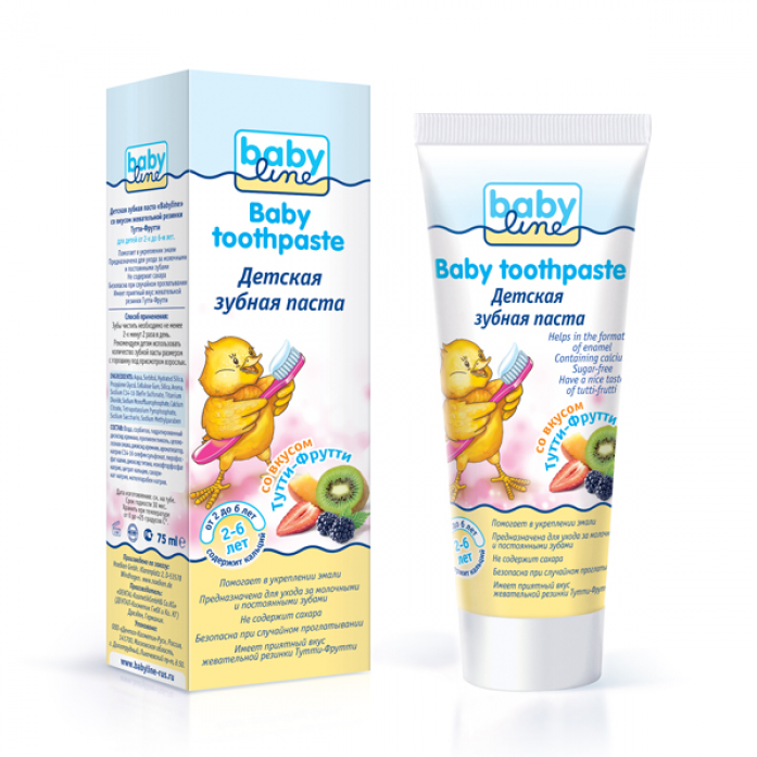Детская зубная паста Babyline ТУТТИ-ФРУТТИ 75 мл от 2-6 лет