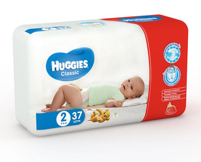 Подгузники HUGGIES Classic Conv Pack 3-6кг 37шт размер 2