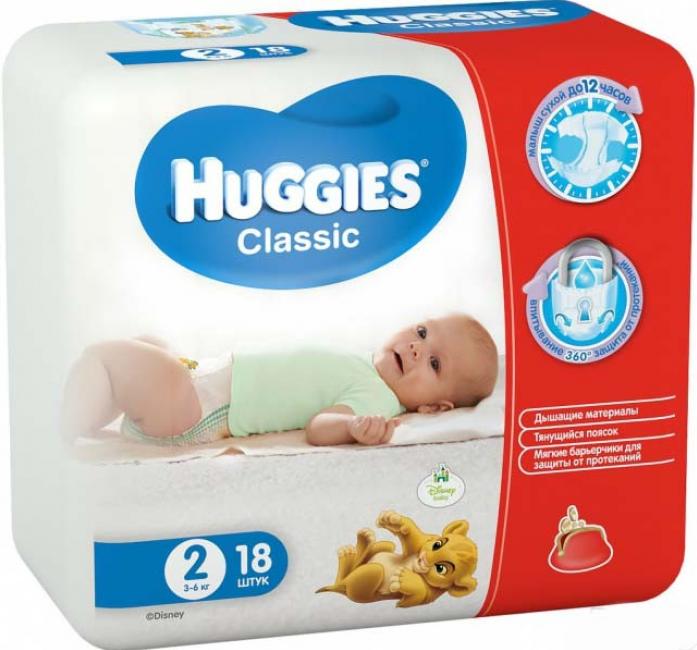 Подгузники HUGGIES Classic Small Pack 3-6кг 18шт размер 2