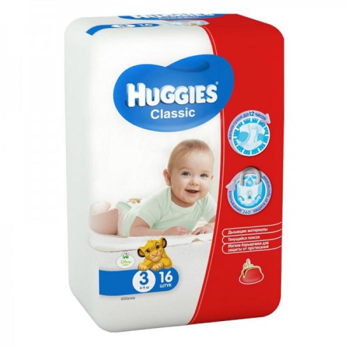 Подгузники HUGGIES Classic Small Pack 4-9кг 16шт размер 3