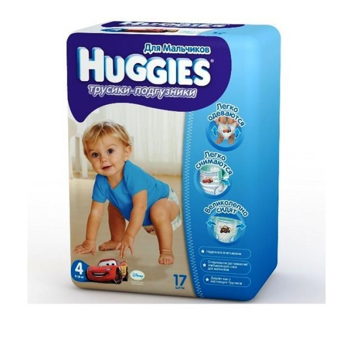 Трусики-подгузники HUGGIES для мальчиков Little Walkers Conv 9-14кг 17шт размер 4