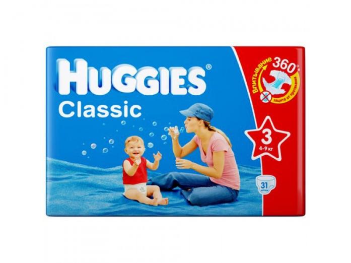 Подгузники HUGGIES Classic Conv Pack 4-9кг 31шт размер 3