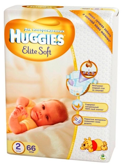 Подгузники HUGGIES Elite Soft 4-7кг 66шт размер 2