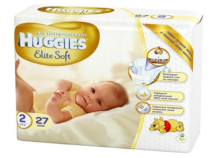Подгузники HUGGIES Elite Soft 4-7кг 27шт размер 2