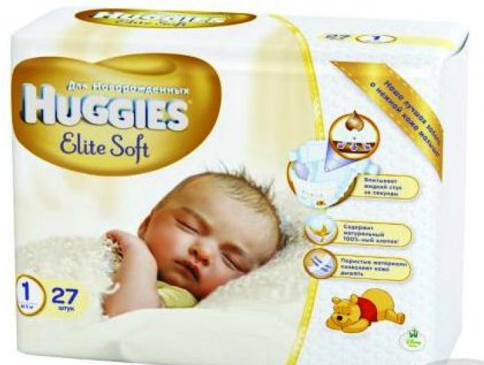 Подгузники HUGGIES Elite Soft до 5 кг 27шт размер 1