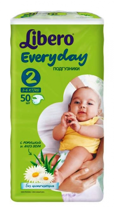 Подгузники Libero Every Day 3-6кг 50шт Mini 2