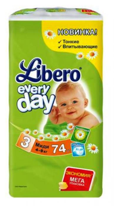 Подгузники Libero Every Day 4-9кг 74шт Midi 3