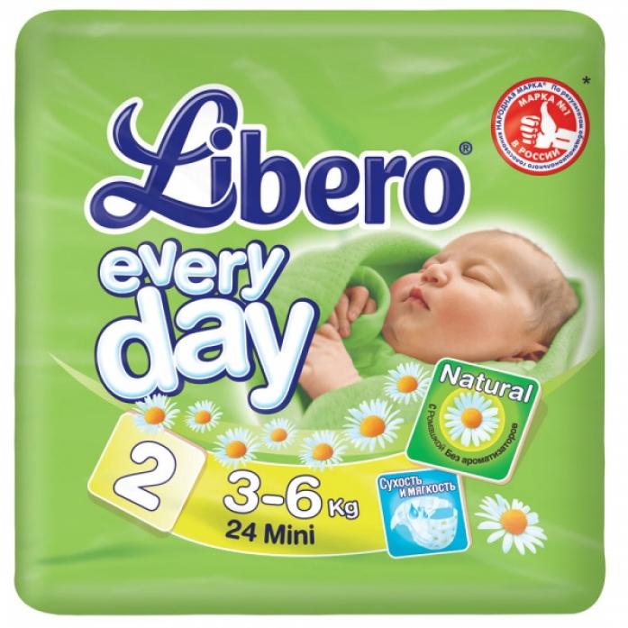 Подгузники Libero Every Day 3-6кг 24шт Mini 2