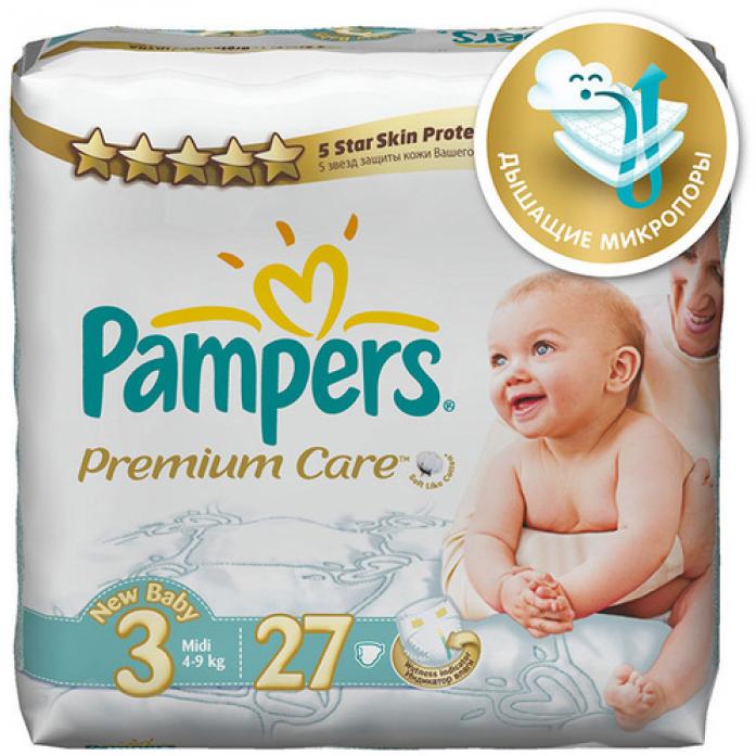Подгузники Pampers Premium Care 4-9кг 27шт Midi 3