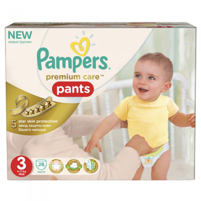 Подгузники-трусики Pampers Premium Care 6-11кг 28шт Midi 3