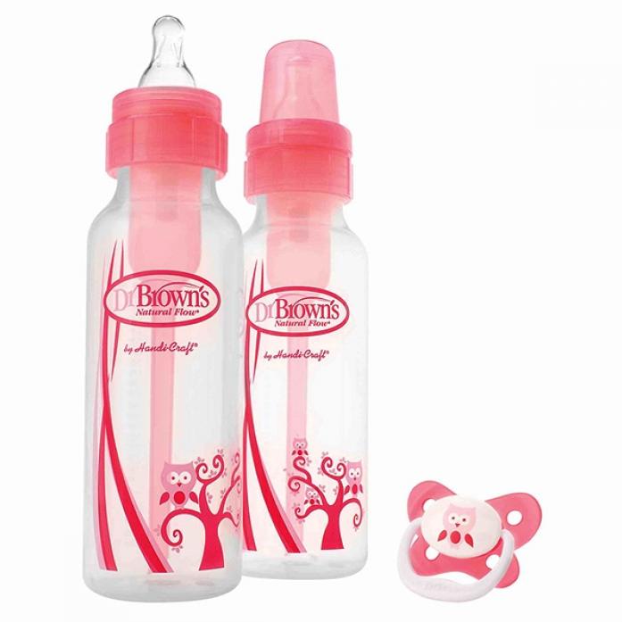 Набор бутылочек Dr. Brown's стандартных розовых 250мл-2шт + пустышка PreVent 0-6 мес SB827