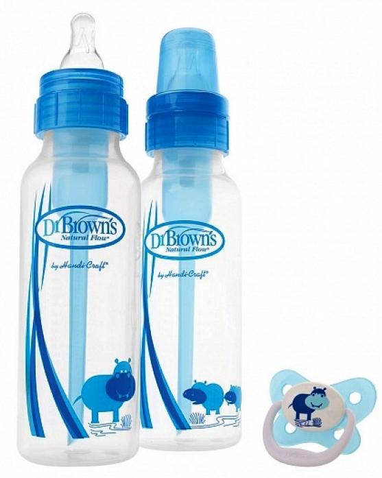 Набор бутылочек Dr. Brown's стнадартных синих 250мл 2шт + пустышка PreVent 0-6 мес SB820