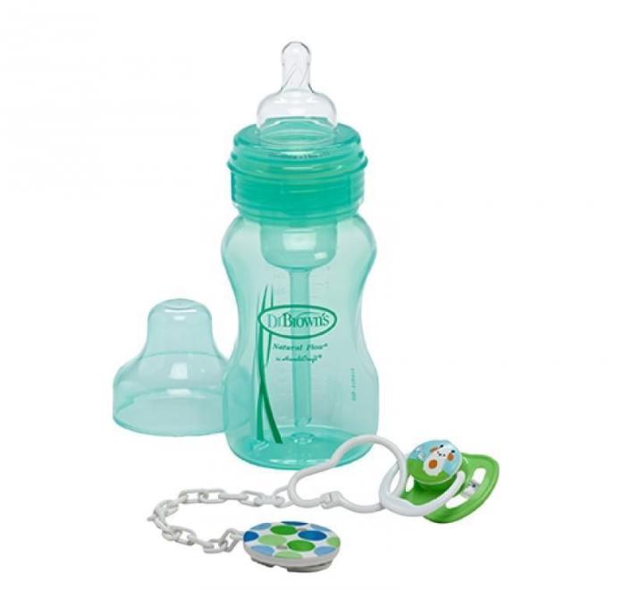 Бутылочка Dr. Brown's бутылочка с широким горлышком зеленая + пустышка PreVent с держателем WB916