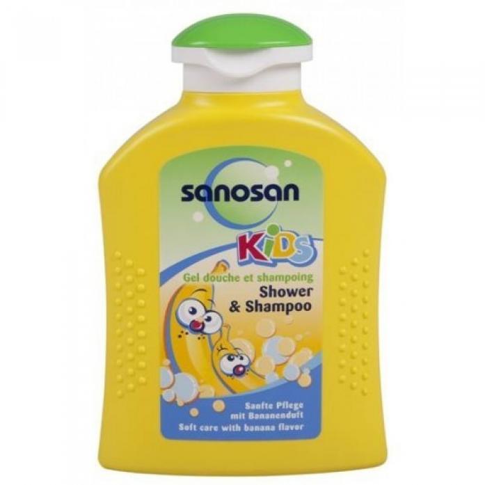 Гель для душа и шампунь с ароматом банана 200мл SANOSAN KIDS 089455