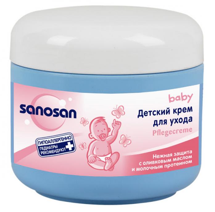 Детский крем Sanosan для ухода с оливковым маслом и молочным протеином 0+150мл