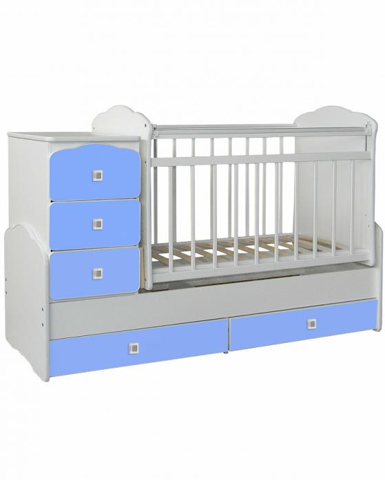 Кровать-трансформер СКВ СКВ-9 бело-голубая 930032-3