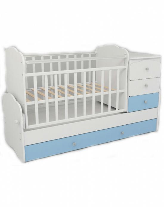 Кровать-трансформер СКВ СКВ-9 бело-голубая 930032-1