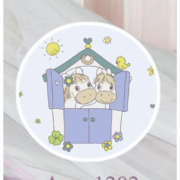 Комплект постельного белья Золотой Гусь Лошадки голубой 1202