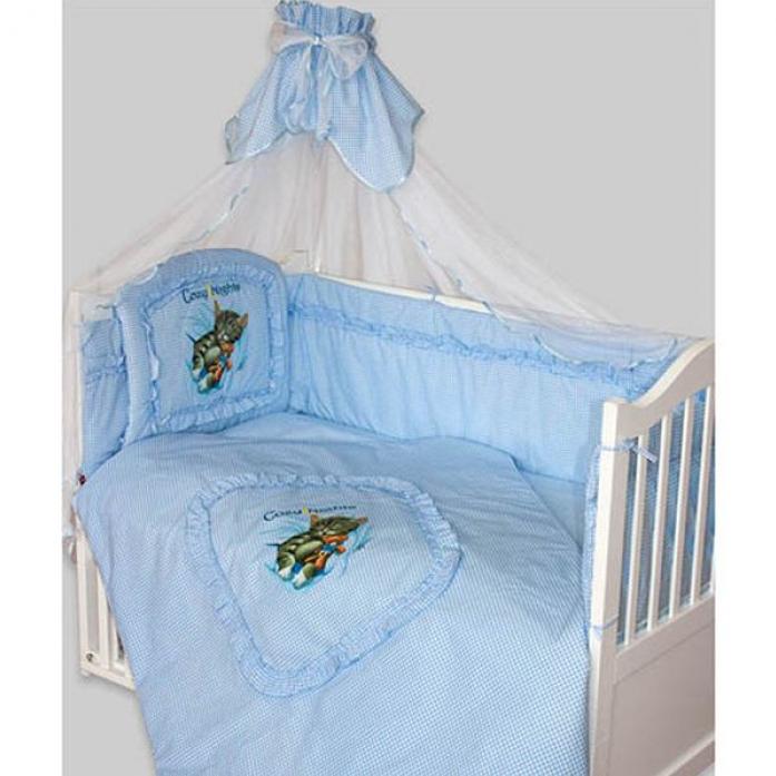 Комплект постельного белья Золотой Гусь Аленка голубой 7 предметов 1012