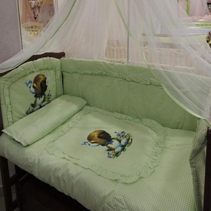 Комплект постельного белья Золотой Гусь Аленка зеленый 7 предметов 1014
