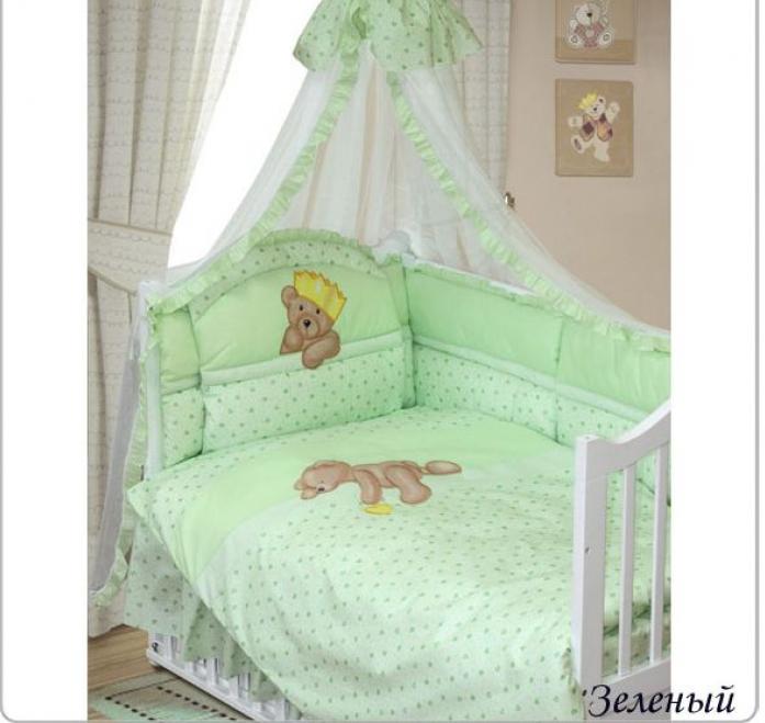 Комплект постельного белья Золотой Гусь Мишка-Царь зеленый 8предметов 1084