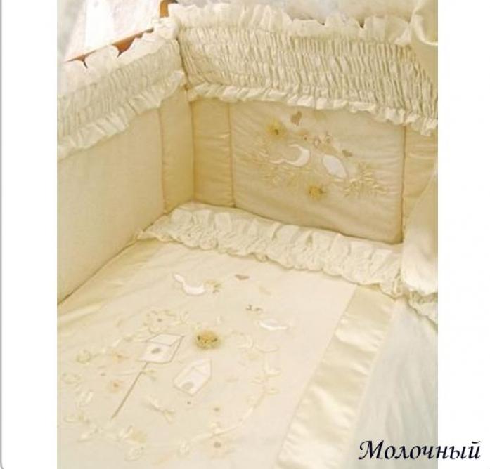 Комплект постельного белья Золотой Гусь Птенчики молочный 10 предметов 1563