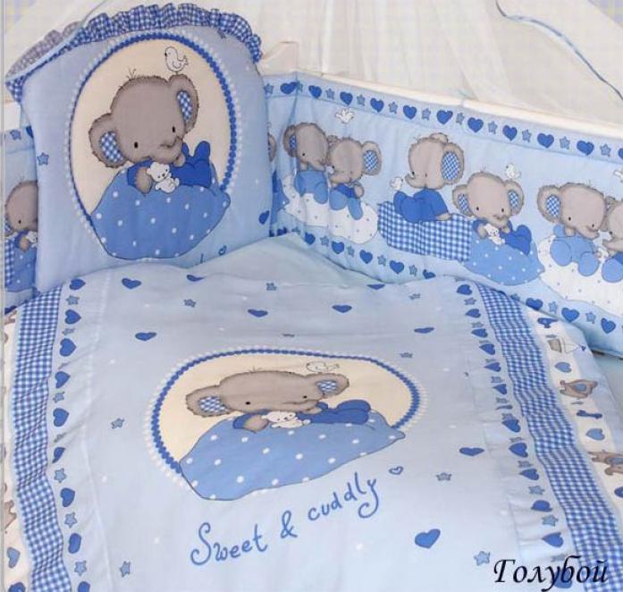 Комплект постельного белья Золотой Гусь Слоник Боня 1912 голубой