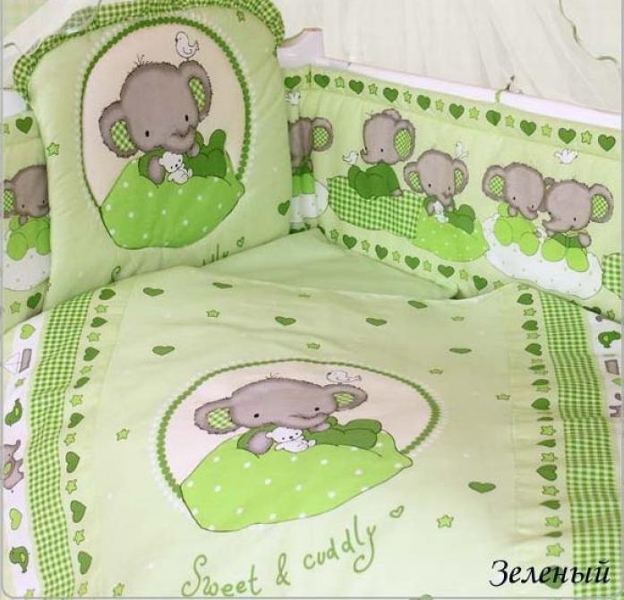 Комплект постельного белья Золотой Гусь Слоник Боня 1914 зеленый